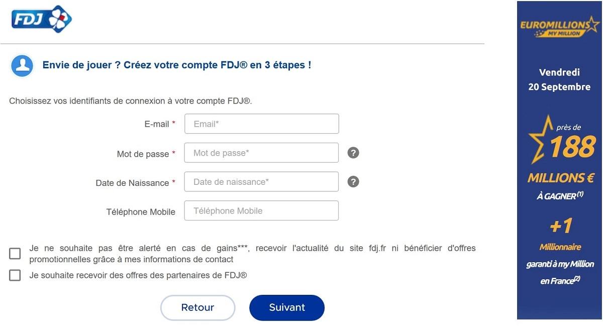 inscription au site FDJ.fr pour jouer à l'Euromillions