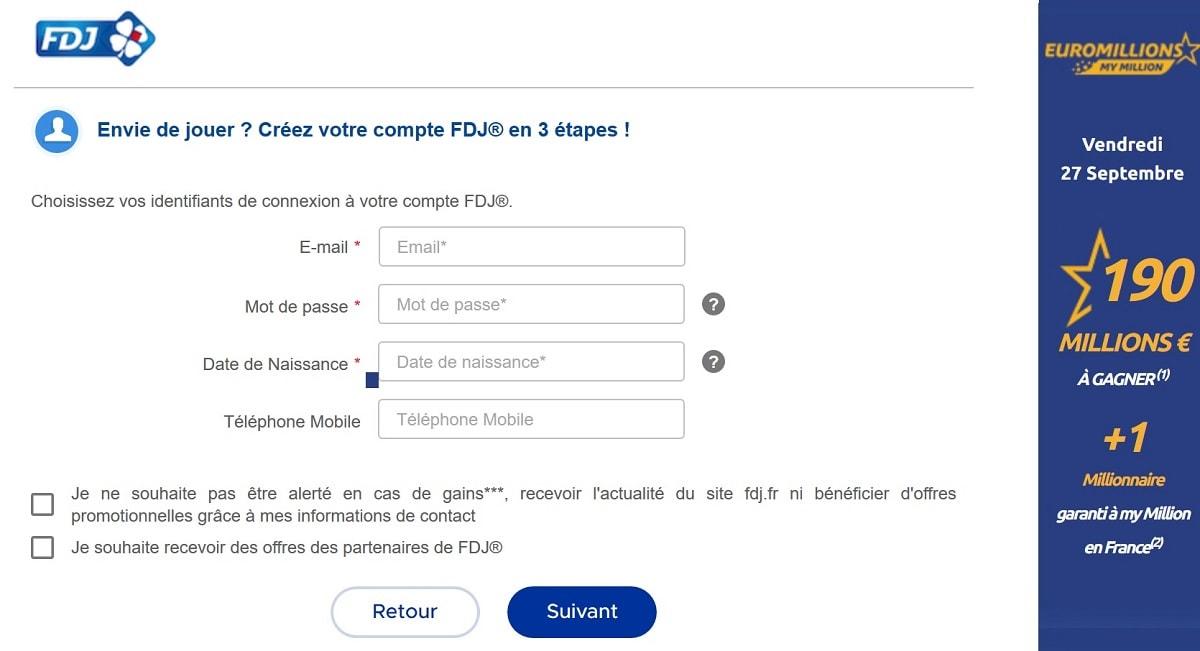 page d'inscription à l'Euromillions sur FDJ.FR