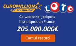 loteries jackpots historiques loto euromillions 205 millions euros