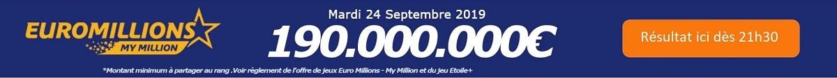 résultat euromillions du mardi 24 septembre 2019