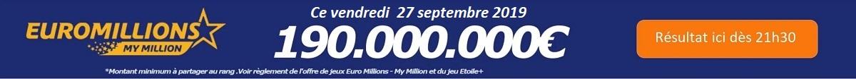 résultat Euromillions du vendredi 27 septembre 2019