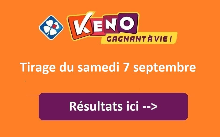 Résultat Keno FDJ du samedi 7 septembre 2019
