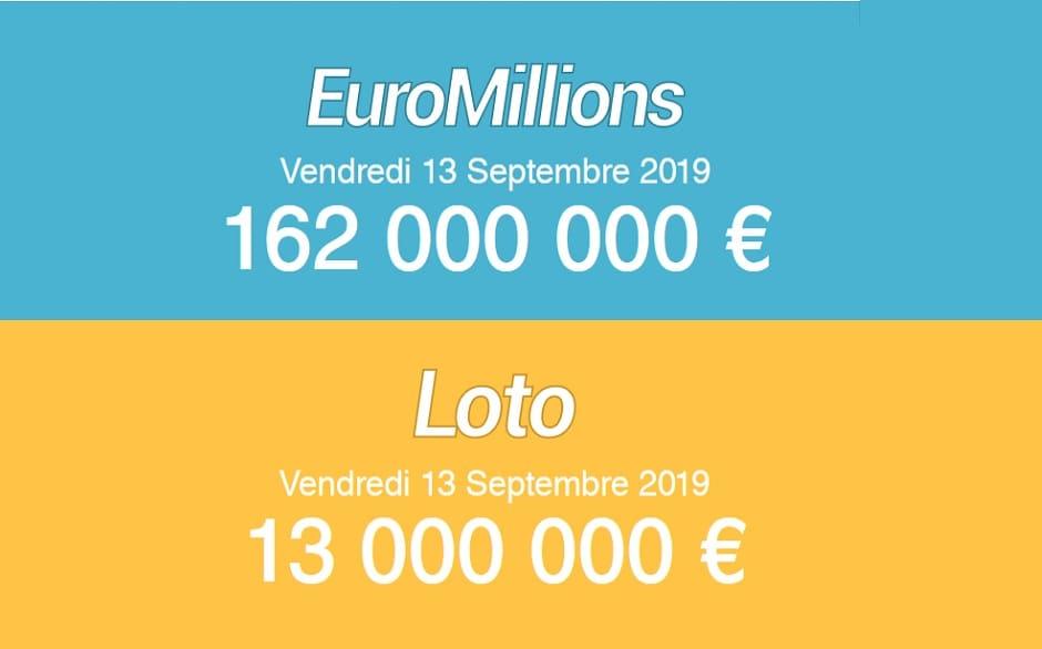 tirage Euromillions et Super Loto de ce vendredi 13 septembre 2019