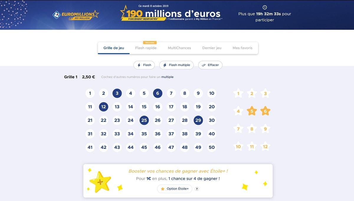 Grille simple Euromillions du mardi 8 octobre 2019