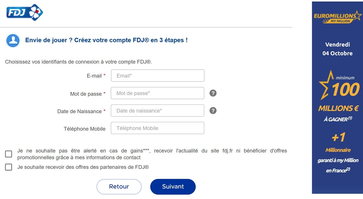inscription en ligne sur FDJ.fr