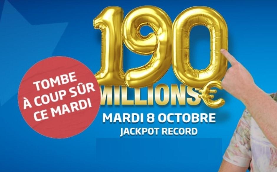 jackpot forcément remporté ou partagé Euromillions ce 8 octobre