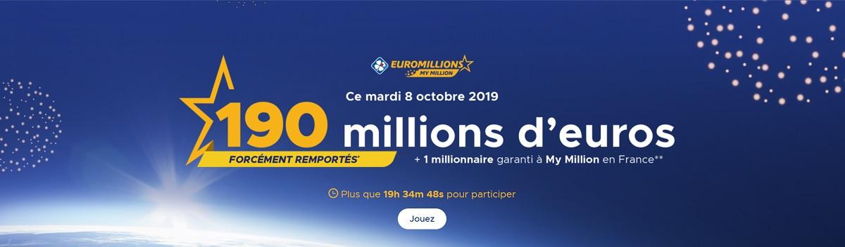 jouer en ligne à l'Euromillions du mardi 8 octobre 2019