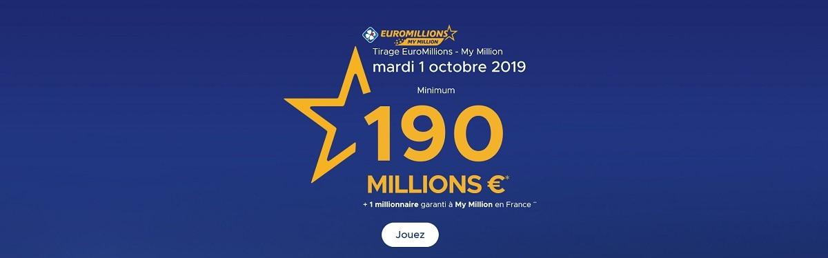 jouer a Euromillions ce mardi 1er octobre 2019
