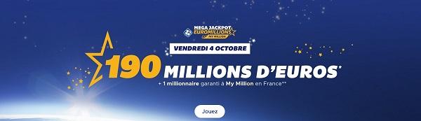 jouer au tirage Euromillions de ce vendredi 4 octobre 2019