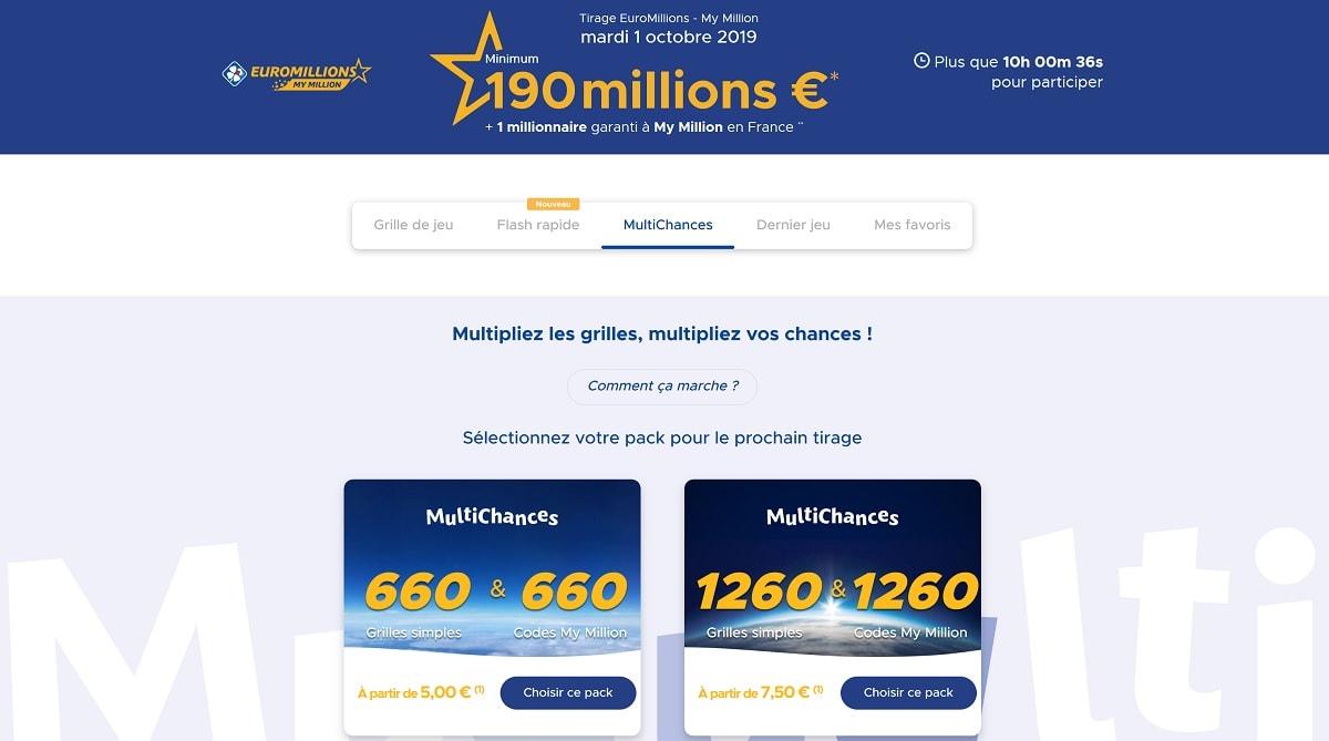 offres Multichances Euromillions ce mardi 1er octobre 2019