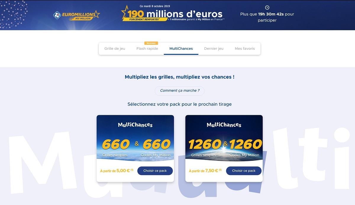 Pack Multichances Euromillions ce mardi 8 octobre 2019