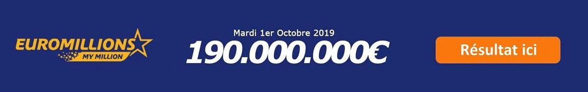résultat Euromillions du mardi 1er octobre 2019