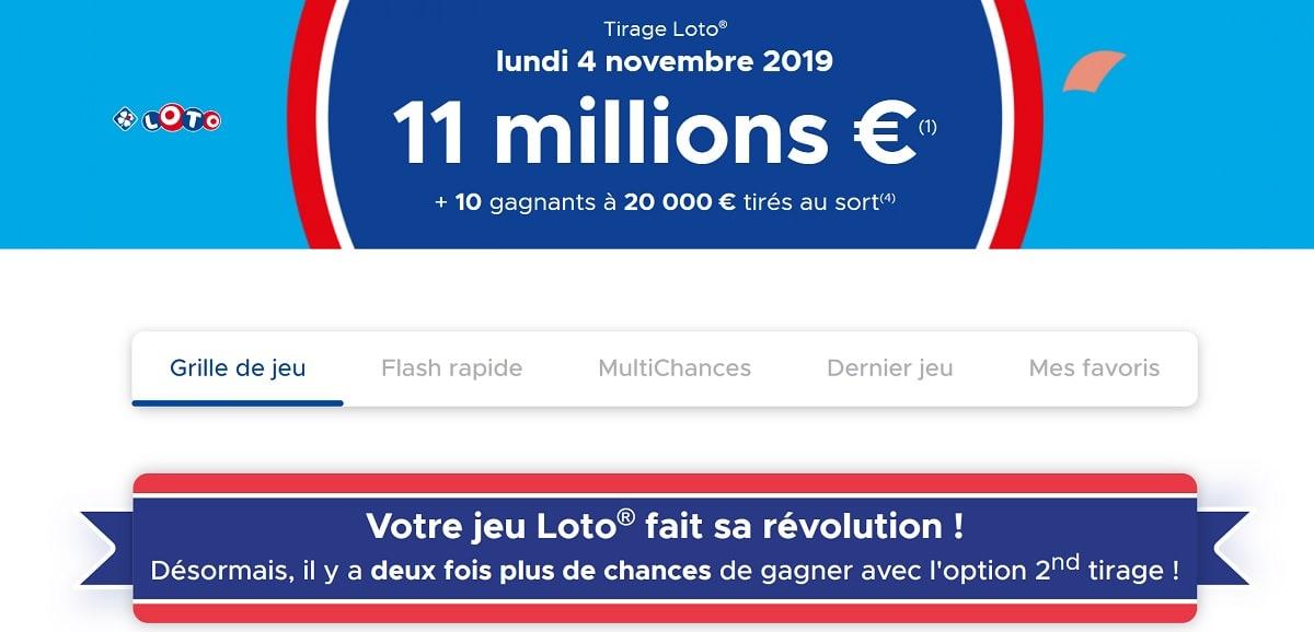 Option second tirage Loto sur le site FDJ.fr