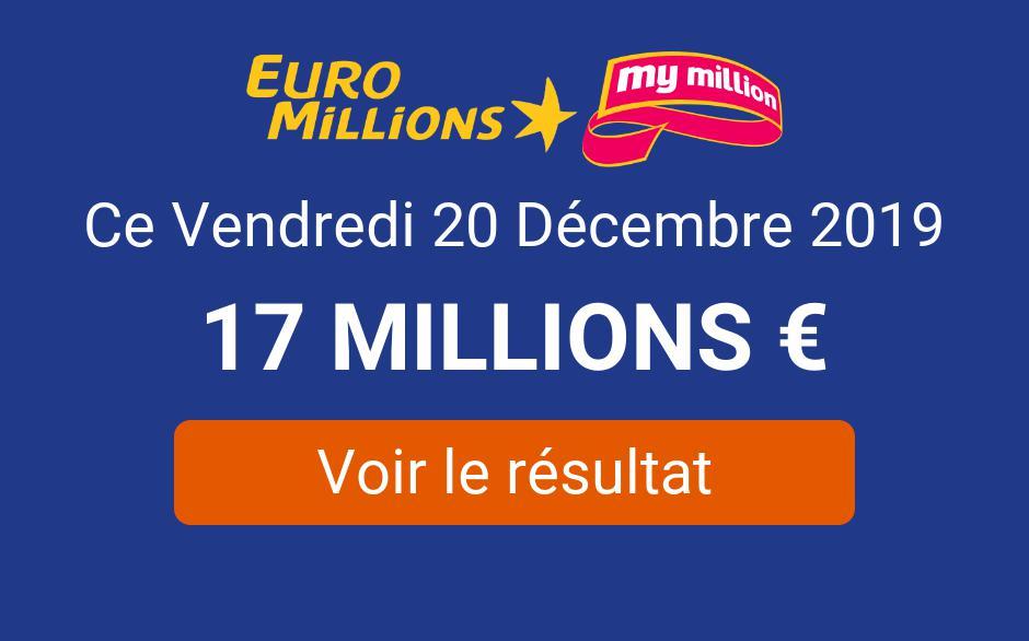 á Résultat Euromillions My Million Du Mardi 31 Décembre 2019 Tirage En Ligne