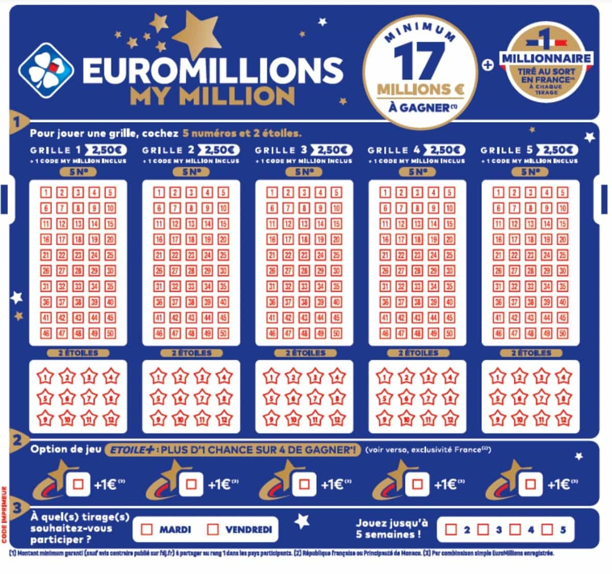 bulletin de jeu Euromillions 2020
