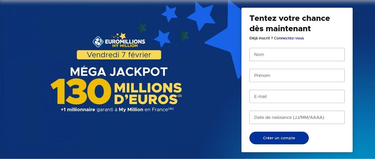 formulaire d'inscription Euromillions 7 février 2020