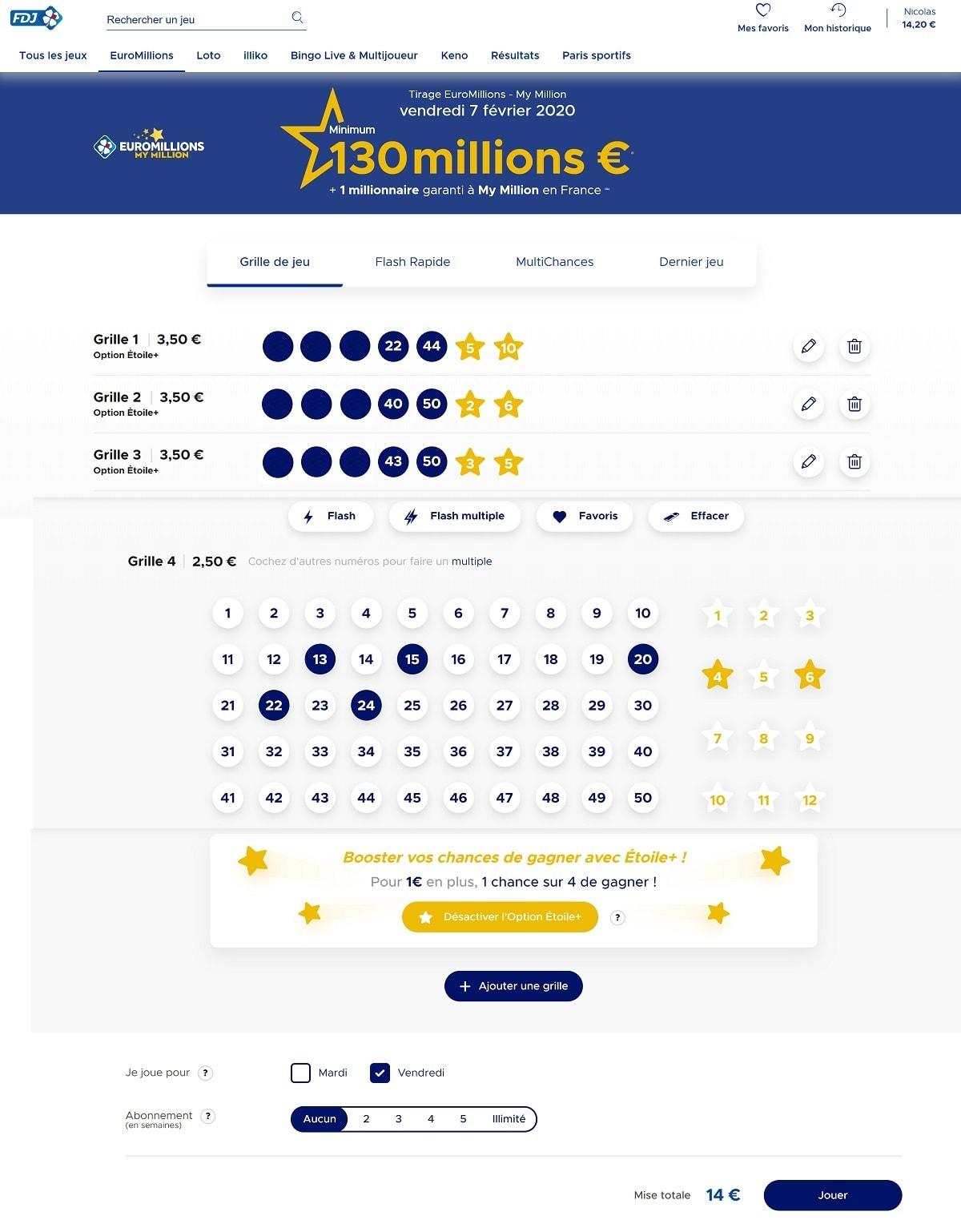 Choisissez vos numéros Euromillions pour le 7 février 2020