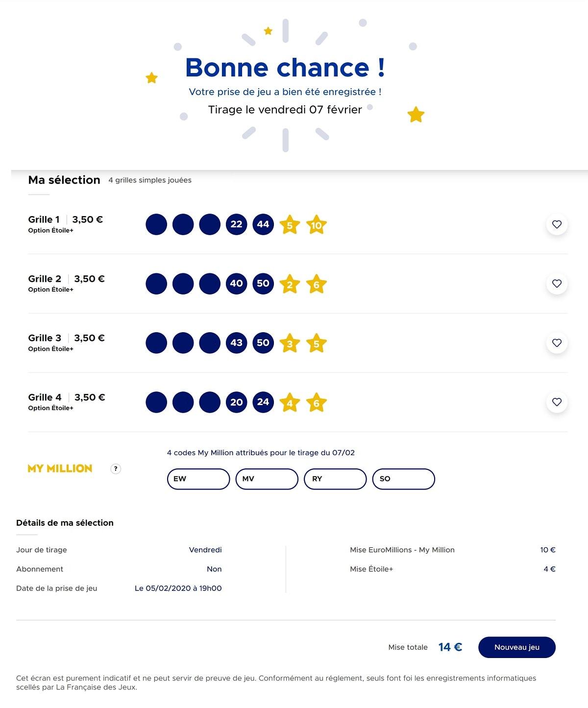 Choisissez vos numéros Euromillions pour le 7 février 2020 étape n°2