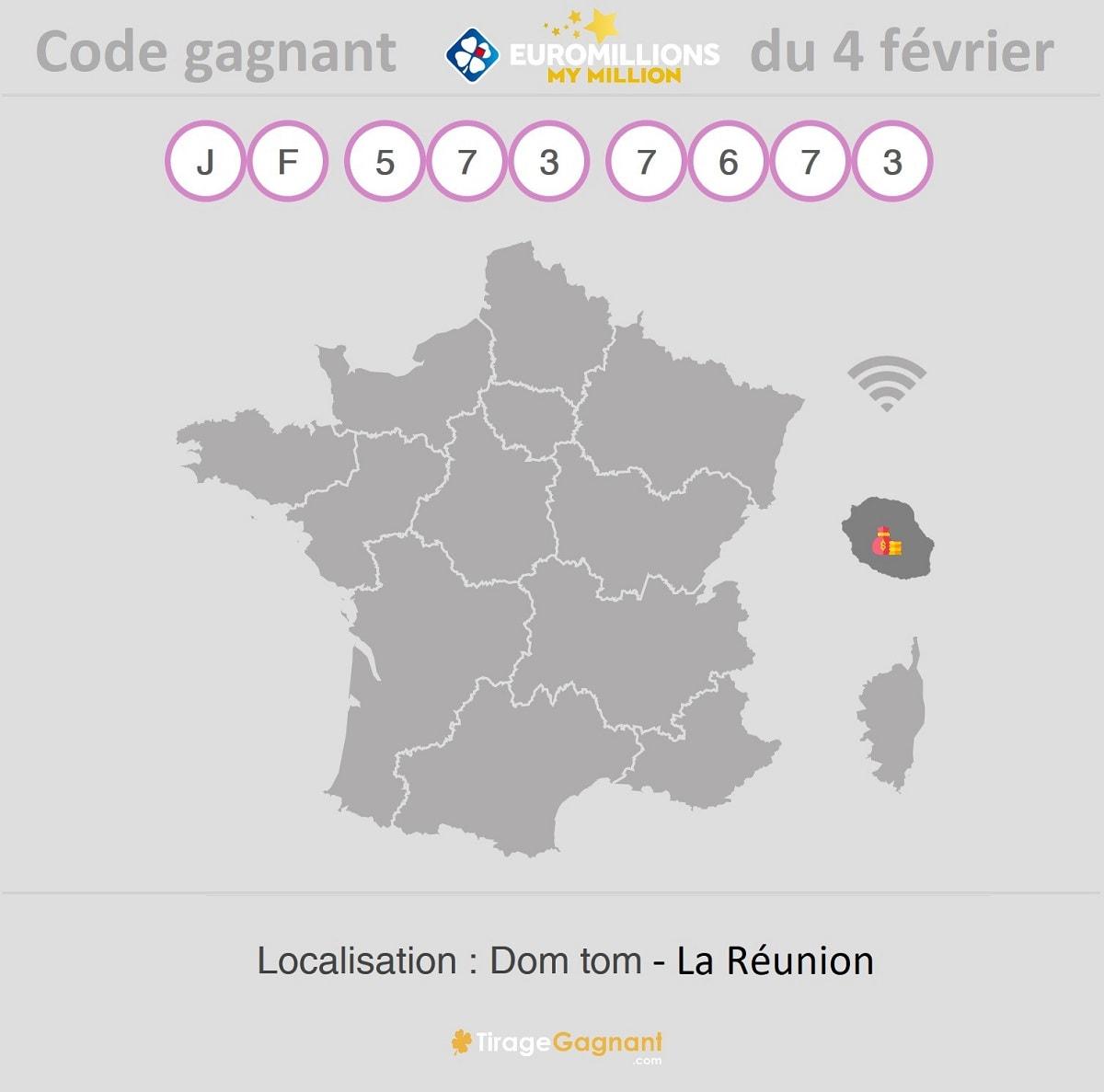 Code gagnant My Million à la Réunion le 4 février 2020