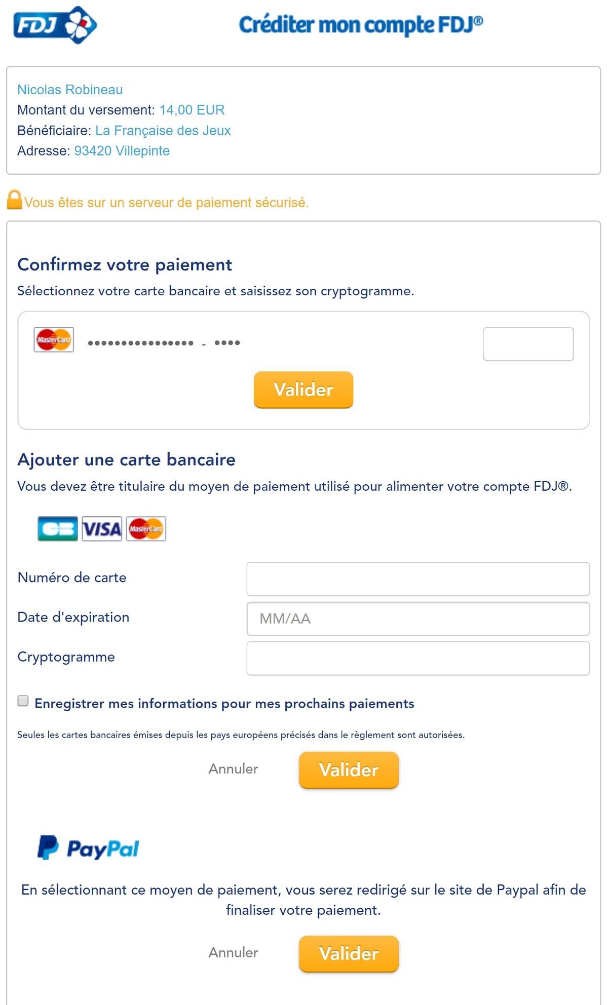 Créditer votre compte FDJ.fr par carte bancaire étape n°2<
