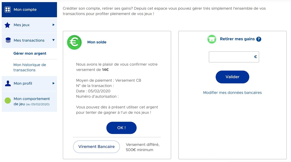 Créditer votre compte FDJ.fr par carte bancaire étape n°3