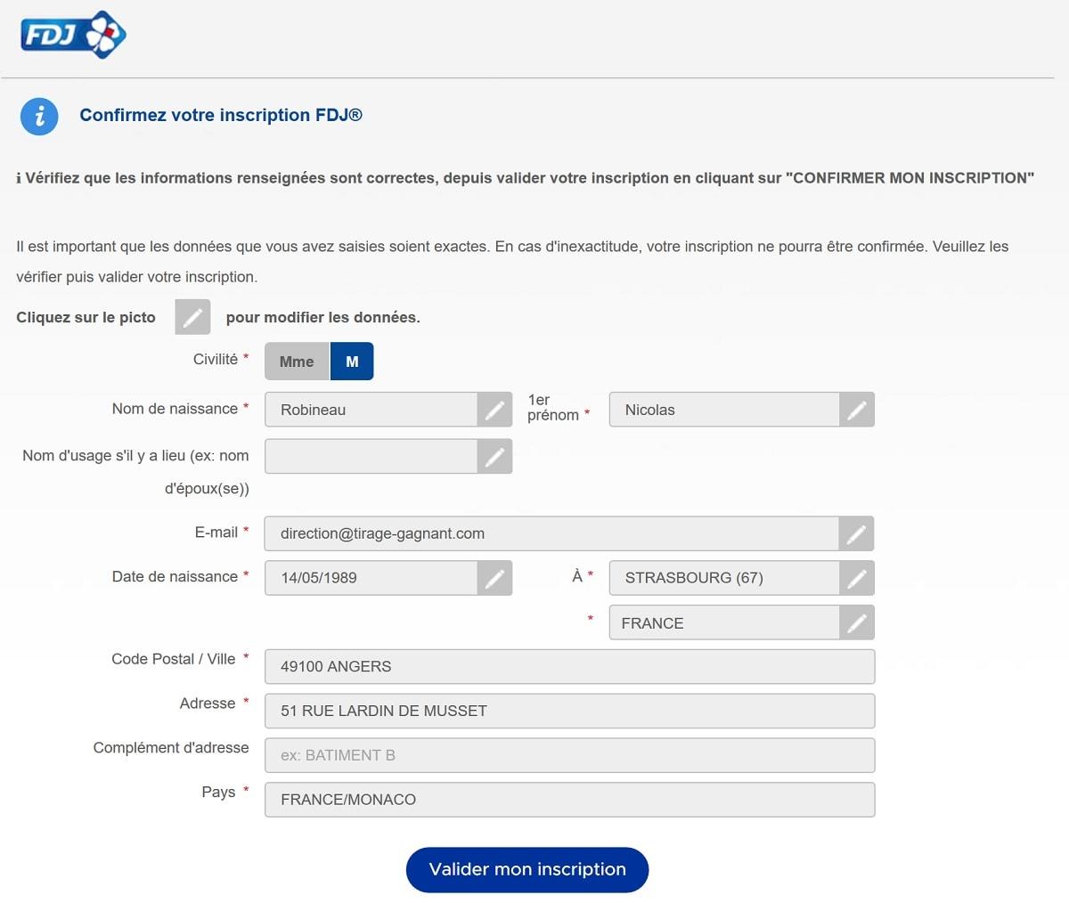 formulaire d'inscription FDJ.fr étape n°5