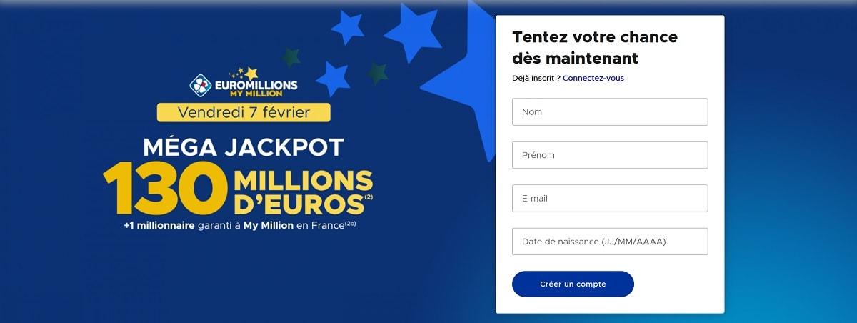 Inscription sur FDJ.fr pour le Mega Jackpot Euromillions