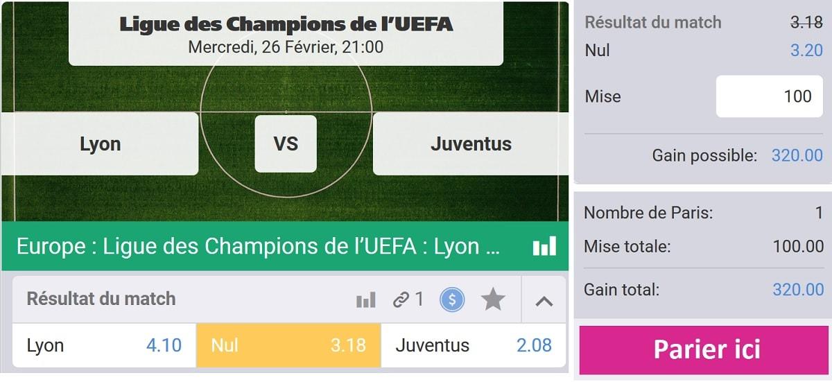Parier sur le match Lyon - Juventus Turin en Ligue des Champions