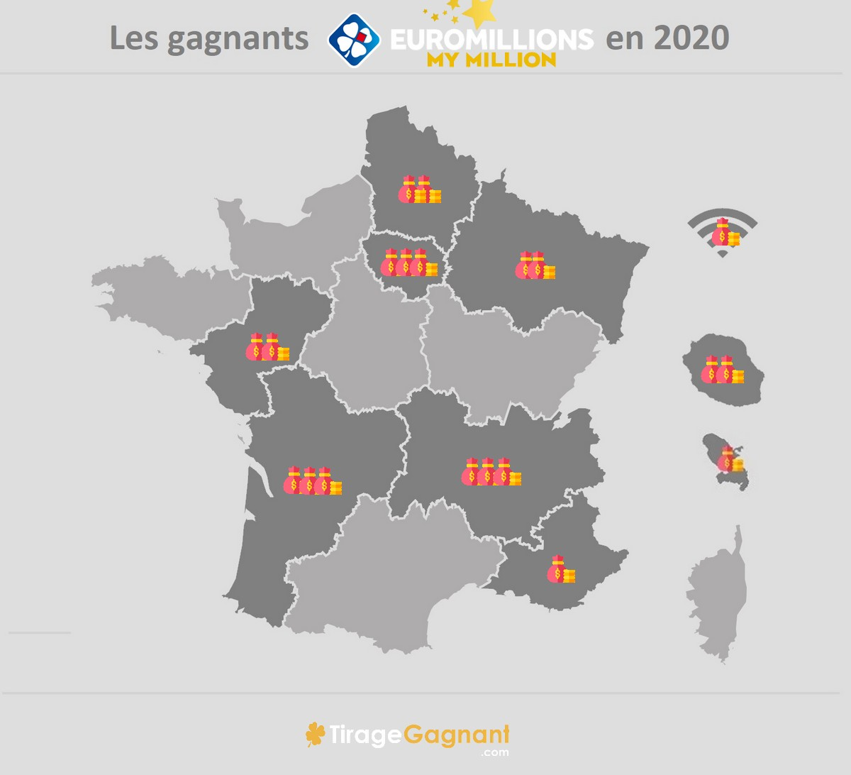 Carte des gagnants My Million en 2020