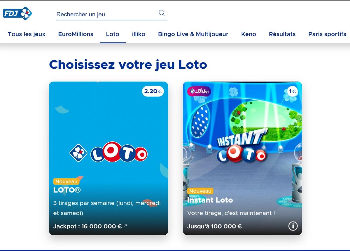 Choix de la loterie Loto via l'onglet sur FDJ.fr