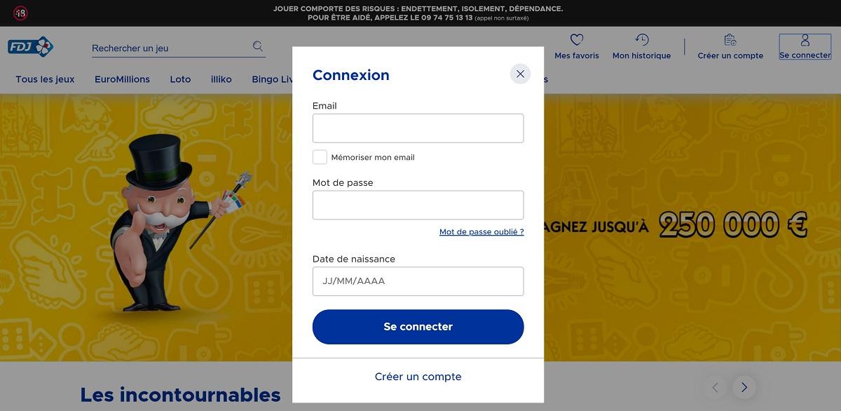 Connexion à votre compte joueur sur FDJ.fr
