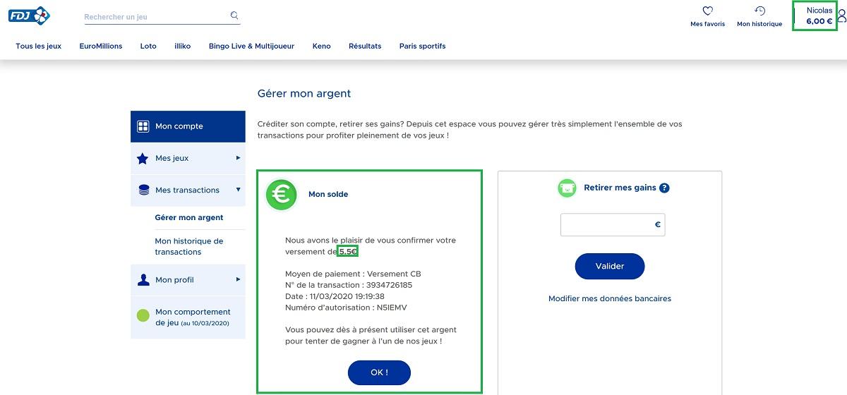 Crédit d'argent sur le compte FDJ.fr