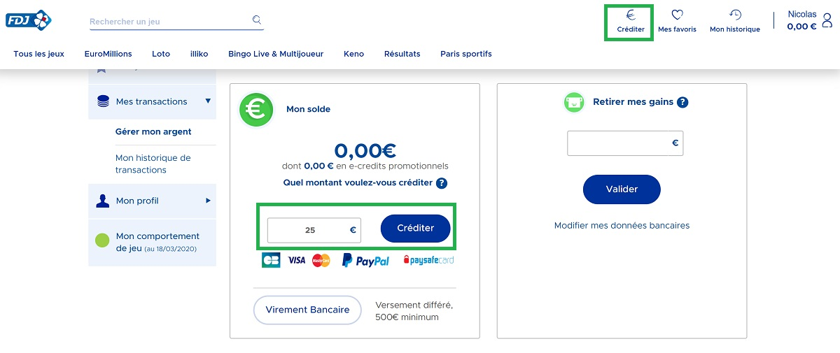 Créditer votre compte joueur en ligne directement sur FDJ.fr