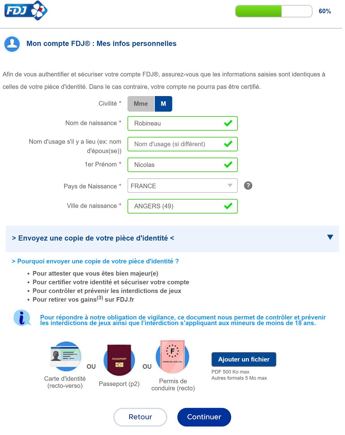 Formulaire d'inscription FDJ.fr : étape n°2