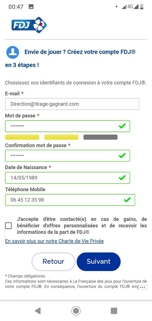 Formulaire d'inscription FDJ.fr sur mobile : étape n°1