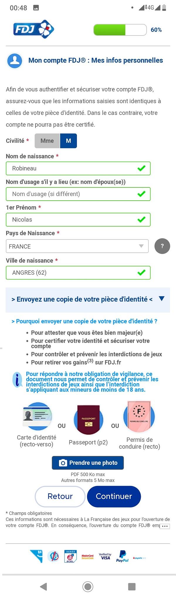 Formulaire d'inscription FDJ.fr sur mobile : étape n°2