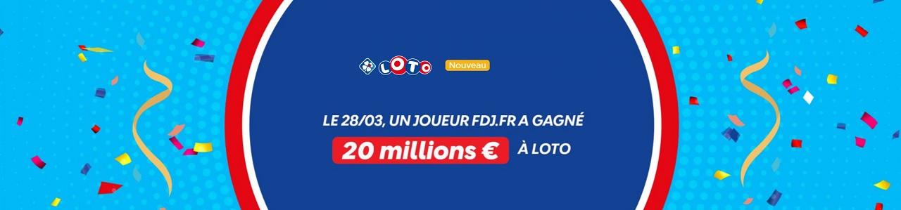 Gagnant Loto en ligne : 20 millions d'euros remporté sur FDJ.fr