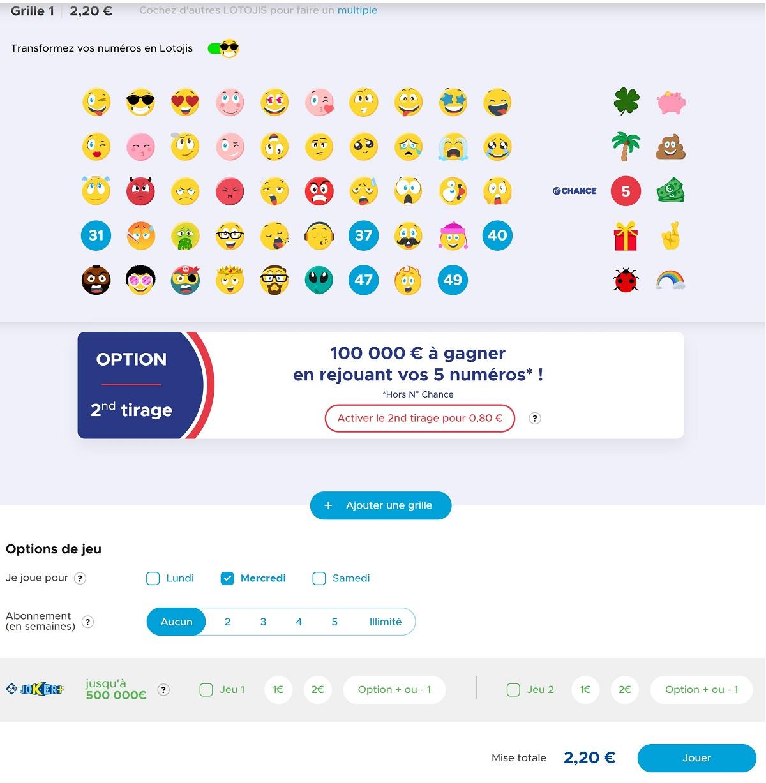 Cocher votre grille Loto avec les Lotojis en ligne sur FDJ.fr