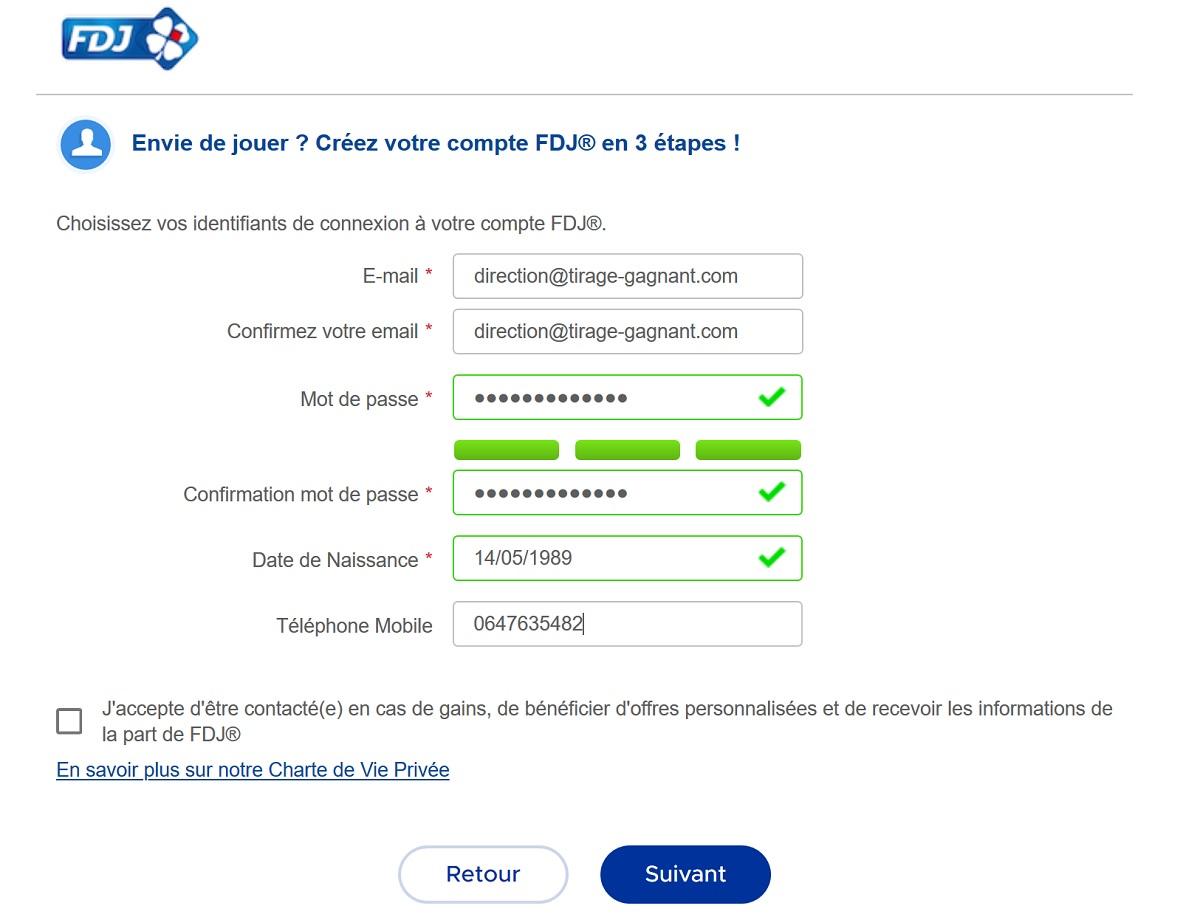 Inscription FDJ.fr sur ordinateur : etape n°1