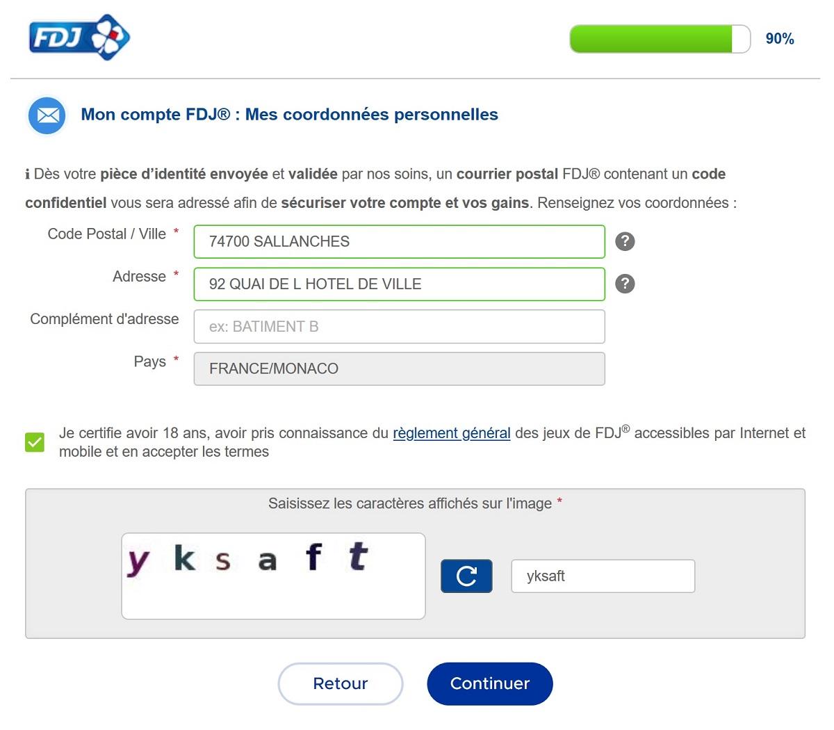 Inscription FDJ.fr sur ordinateur : etape n°3