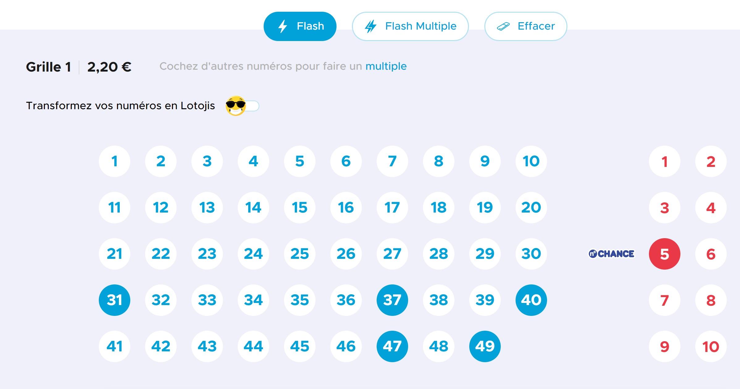 Cocher une grille Loto en ligne sur le site FDJ.fr