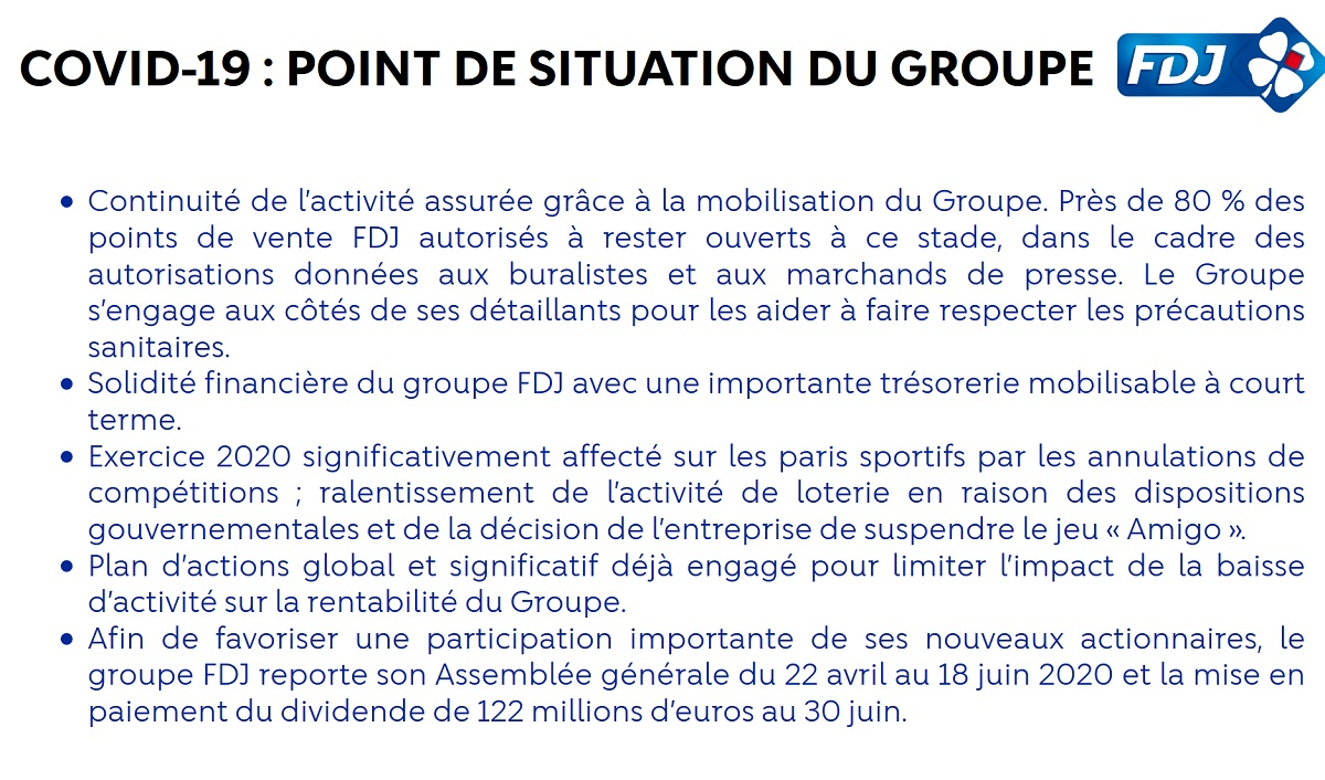 Point situation FDJ et covid19