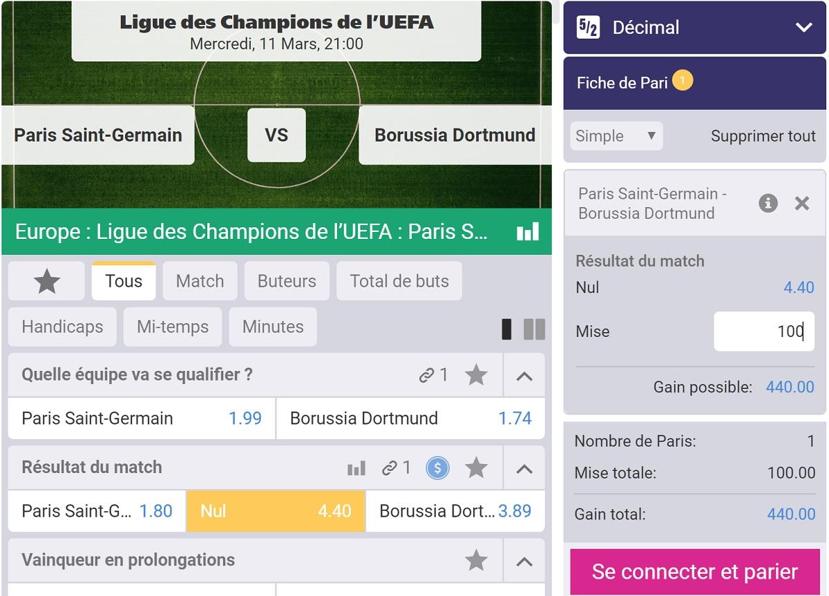 pronostic PSG -Dortmund en Ligue des Champions
