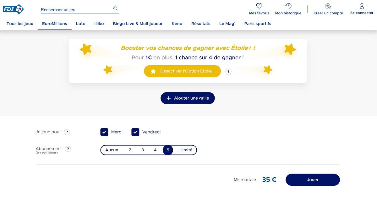 Abonnement Euromillions avec l'option Etoile+