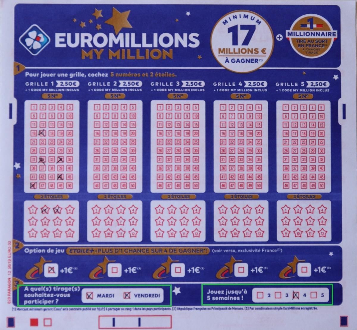 Abonnement Euromillions FDJ : le feuillet rempli