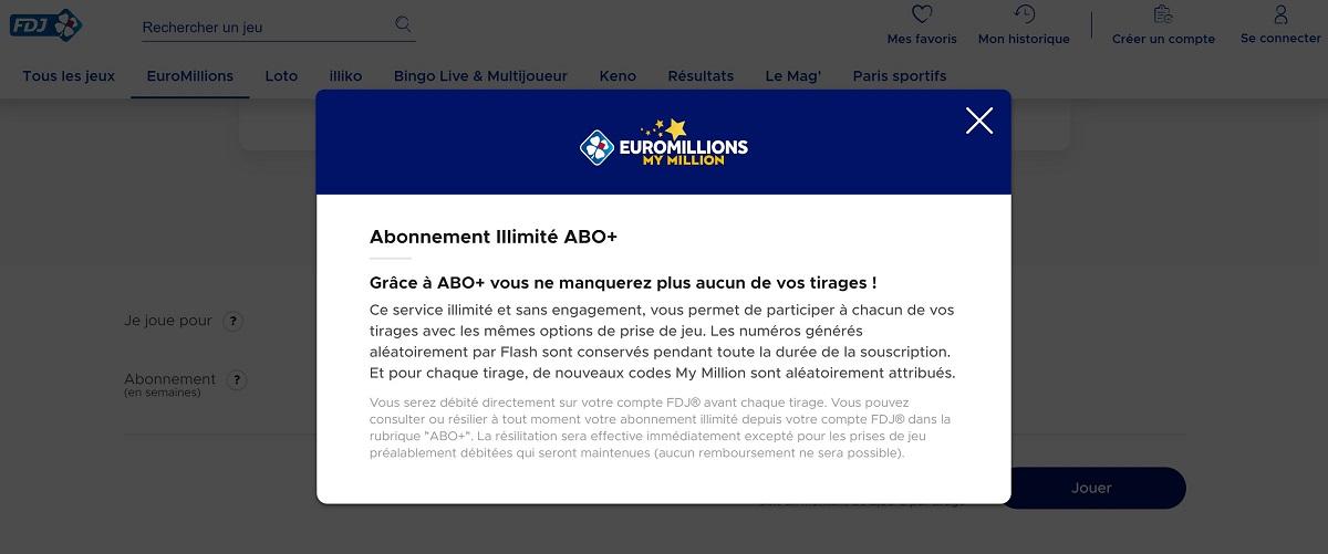 Abonnement Abo+ illimité pour Euromillions
