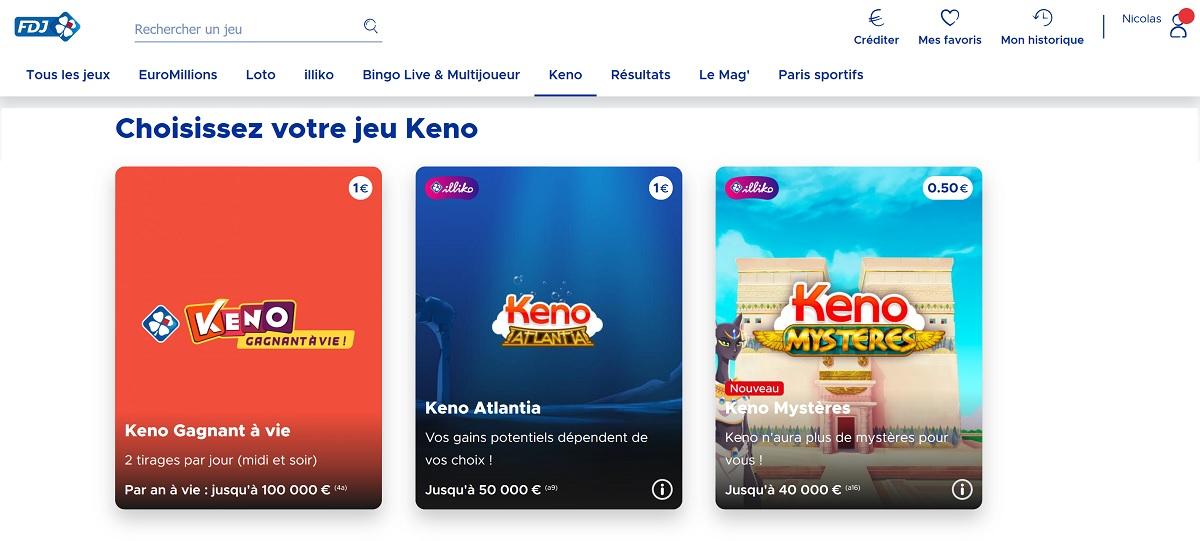 Différents types de jeu de Keno sur FDJ.fr
