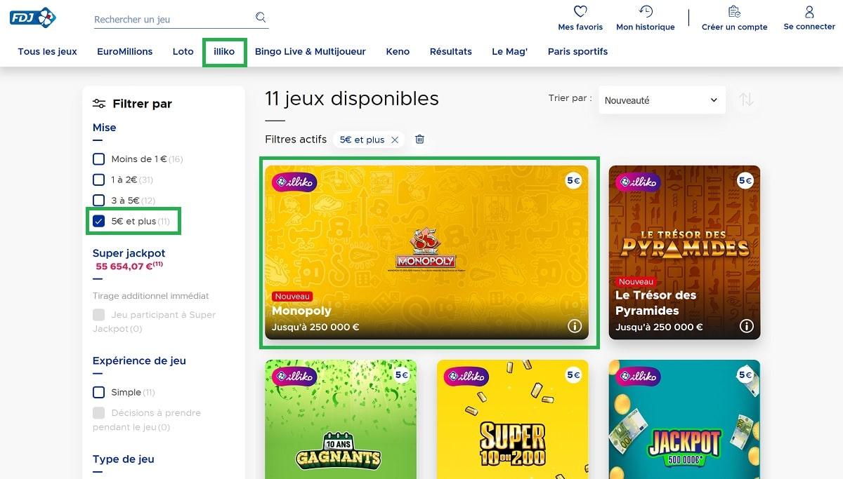 Trouver le jeu Monopoly sur le site de la FDJ.fr