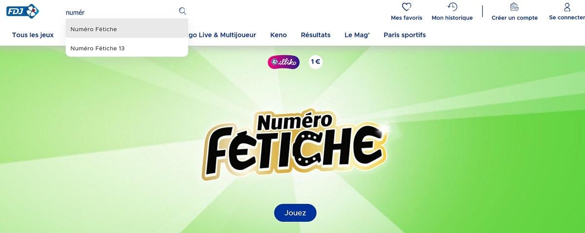 où trouver le Numéro Fétiche sur FDJ.fr