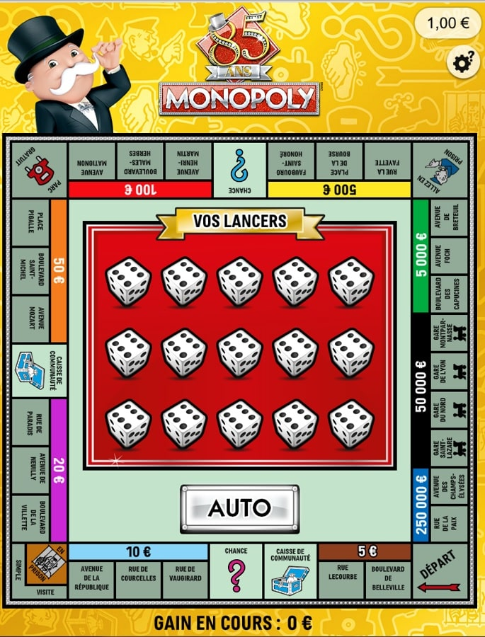 Plateau de jeu Monopoly FDJ en ligne